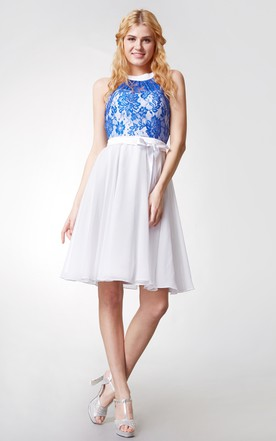 Ethereal A-line Lace Bodice Short Chiffon Dress With Keyhole Back