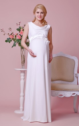 Draped Scoop Neckline A-line Chiffon Maternity Wedding Dress With Cap Sleeves