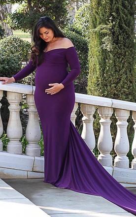 1226a2db2c Elegant Long Sleeve Off-the-shoulder Jersey Maternity Dress ...