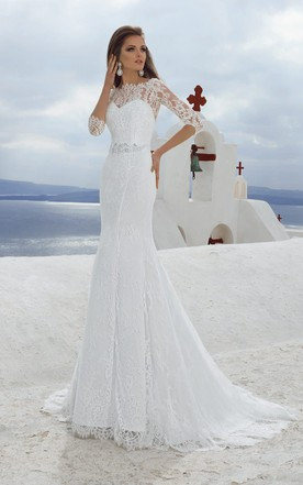 Bateau Neck 3 4 Length Sleeve Sheath Lace Wedding Dress With Beading