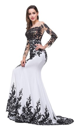 Glamorous Long Sleeve Mermaid 2016 Evening Dress Black Appliques Mother Dress