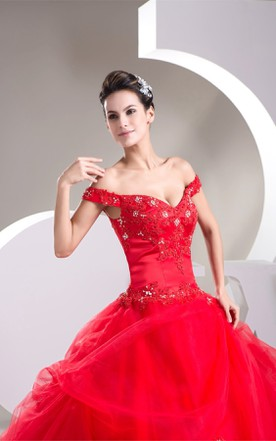Off-The-Shoulder Ruffled Ball Gown with Appliques and Corset Back