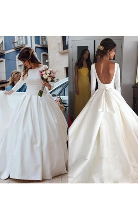 4a0c2fbc41a Simple Backless Long Sleeve Satin Ball Gown Wedding Dresses ...
