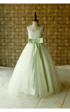 Ivory Lace Flower Girl Dress Floor Length With Mint Sash and Bow