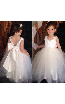 Wedding dress for petite brides little bride bridals gowns june delicate tulle lace appliques flower girl dress with bowknot junglespirit Gallery