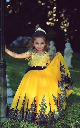 Affordable dresses for flower girls cheap junior brides dresses lovely yellow appliques flower girl dresses floor length pageant dresses mightylinksfo
