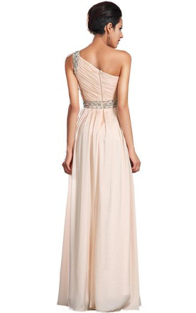 One-shoulder Chiffon Dress With Side Slit