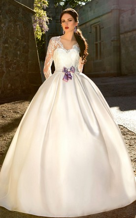 Cute style wedding gowns bridal dresses cute june bridals ball gown long v neck t shirt sleeve zipper satin dress with bow junglespirit Choice Image