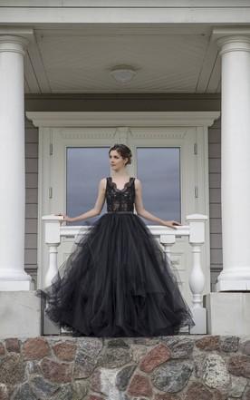 Stylish Black Lace Wedding Dress Gothic Wedding Dresses June Bridals