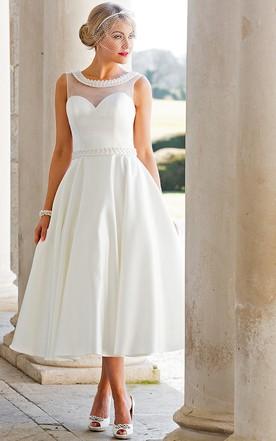 A Line Tea Length Sleeveless Jeweled Scoop Neck Satin Wedding Dress
