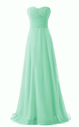 0874d65d4f88b Chic Sweetheart Ruched Chiffon A-line Gown With Train ...