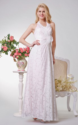 Halter Ruched Long Lace Dress With Flower
