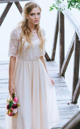 Boho Blush Ankle Length A Line Chiffon Wedding Dress With Lace Bodice