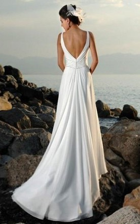 Empire V-neck Court Trains Sleeveless Chiffon Beach Wedding Dresses for Brides