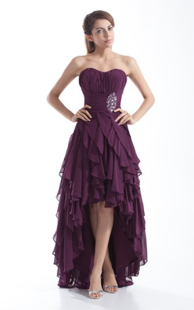 1d0b777ca7d chiffon ruched high-low dress with cascading ruffles and beading ...