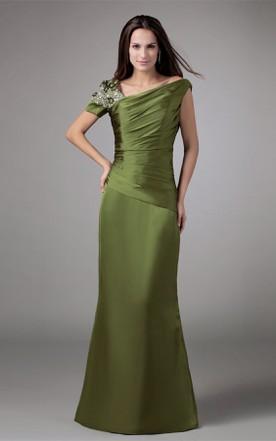 fa8e9fa3805 Asymmetrical Taffeta Mermaid Gown with Ruching and Rhinestone ...