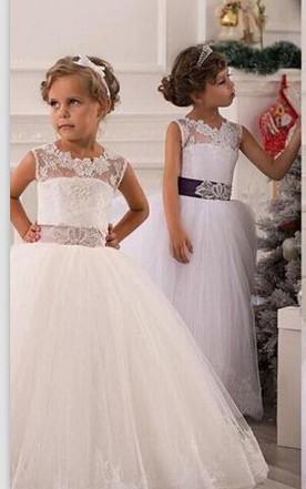 221749f14de Modern Illusion Sleeveless Tulle Flower Girl Dress With Lace Appliques ...