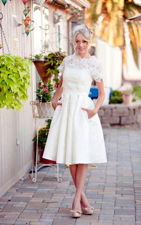 Scalloped Short Sleeve Satin Wedding Dress With Lace And Button Back