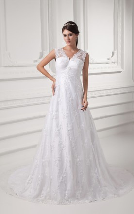 caped-sleeve lace a-line sleeveless gown with low-v back