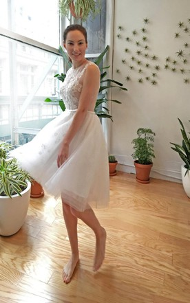 Tea-Length Organza Wedding Dress With Heart Open Back