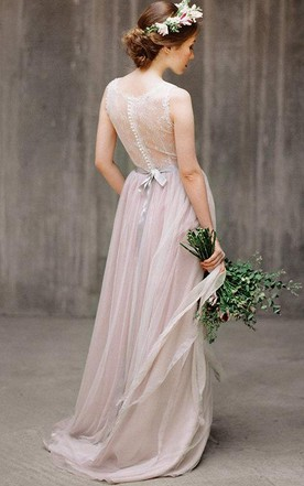 Illusion Back Tulle and Lace Dress With Ribbon