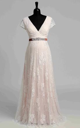 5a1da7bfdeadf Short Sleeve V-neck Pleated Long Lace Maternity Wedding Dress ...