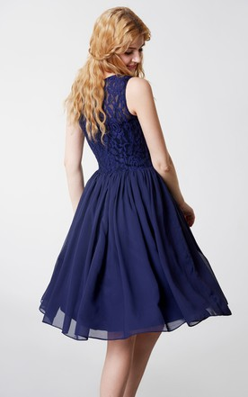 Cornflower Blue Tea Length Dresses