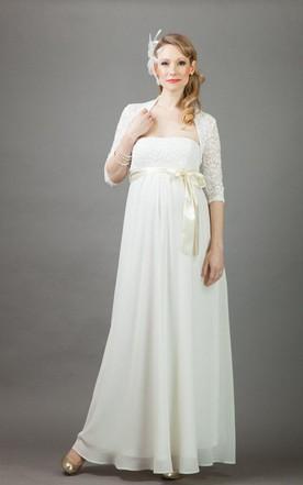 Annie Long Maternity Wedding With Bolero Dress