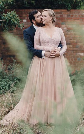 Blush bridal dresses pale pink wedding gowns june bridals plus size blush long sleeves bling sequins v neck a line tulle lace bridal gown junglespirit Image collections