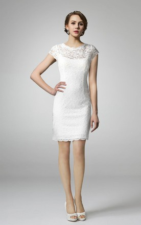 Short Sleeve High Neck Lace Wedding Dress ...