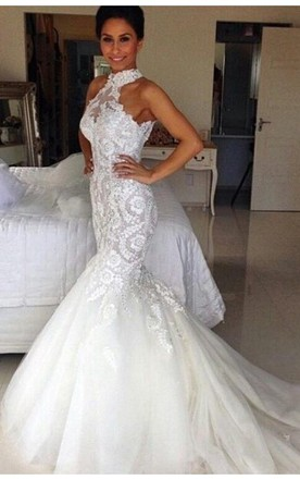 Delicate Halter Tulle Mermaid Wedding Dress With Lace Liques
