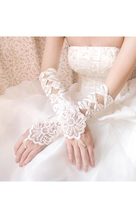 White Bow Beaded Embroidery Long Gloves