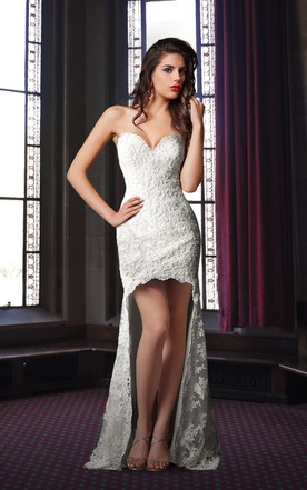 Sweetheart High Low Lace Wedding Dress