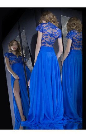 9d2aac151294 Hot Sale Long Lace Royal Blue Prom Dresses Slit Front Short Sleeves Evening  Gown ...