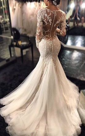 Mermaid V Neck Long Sleeves Lace Court Train Tulle Wedding Dresses