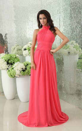 Gossamery Chiffon Modest Floral-High-Neck Gown With Pleats