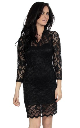 3 4 Sleeved Short Lace Sheath Dress With Illusion Style