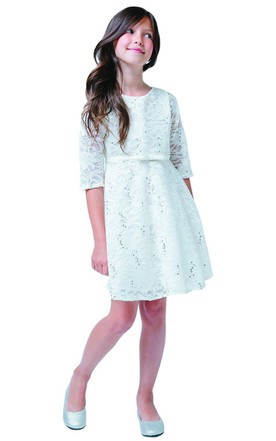 Half-sleeved Short Lace Dress With Belt