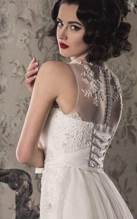 Lace Satin Weddig Dress With Illusion Corset Back