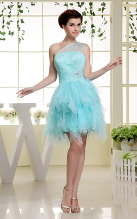 One-Shoulder Ruffled Tulle Mini Dress with Beading Illusion Neckline
