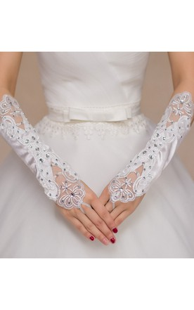 Diamond Elastic Satin Hollow Mesh Bead Embroidered Gloves