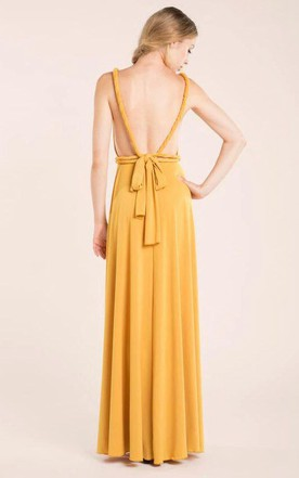 Mustard Floor-length Jersey Dress