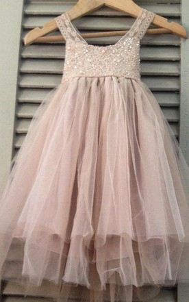 562dfacad Sleeveless Scoop Neck Pleated Tulle&Lace Dress With Strapped ...