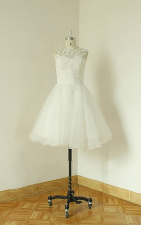 Jewel Sleeveless Button Back A-Line Short Organza Wedding Dress
