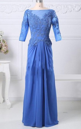 Blue Mother Of The Bride Prom Formal With 3 4 Sleeves Jacket Boat Neck Prom Custom Size Color Dress