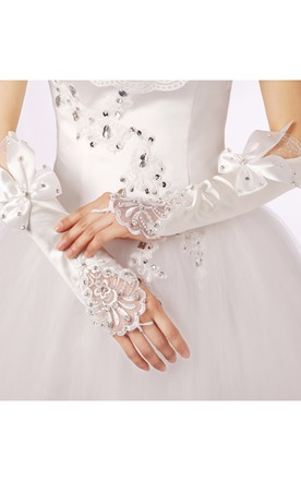 Long Lace Bow Diamond Gloves