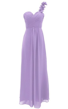 One-shoulder Chiffon Dress With Floral Strap