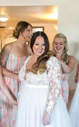 Plus Size Lace Long Sleeve Sexy Sheer V Neck Illusion Back Tulle Bridal Gown  ... 9f8f55ef6003