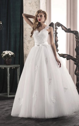 A-Line Tulle Lace Satin Dress With Bow Split Front Split