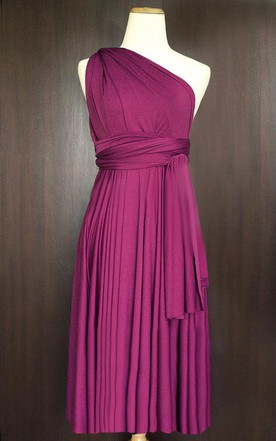 Short Straight Hem Magenta Bridesmaid Convertible Wrap Cocktail Evening Wedding Dress